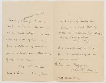 Letter from suffragette Helen Blackburn to Maikki Friberg