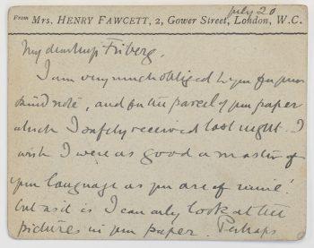 Card from suffragette Millicent Fawcett to Maikki Friberg