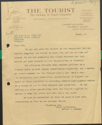 Matkailulehden kirje Valtion Rautateille