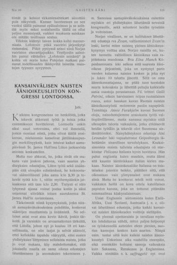 The Congress in London of the International Women's Suffrage Alliance in 1909: journalist and suffragette Maikki Friberg's description