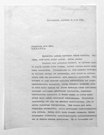 Censorship and propaganda during Winter War – London Correspondent Arvo Ääri's Letter