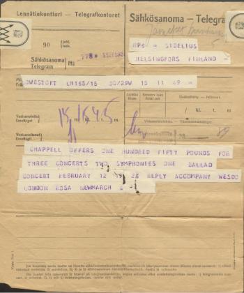 Telegram to Jean Sibelius