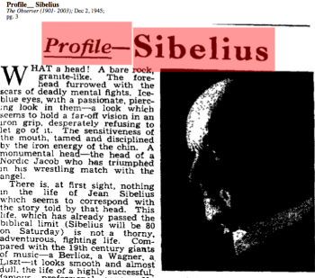 Finnish Composer Sibelius According to The Observer