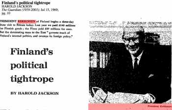 Finland's Political Tightrope – President Kekkonen's visit to Britain in 1969