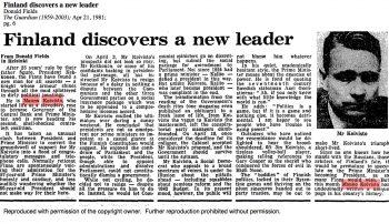 Mr Koivisto steps into the footsteps of President Kekkonen – Finland discovers a new leader