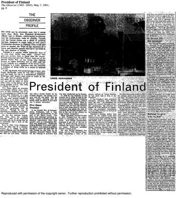 "Urho Kekkonen: President of Finland – an article about ""the well-preserved man of sixty"""
