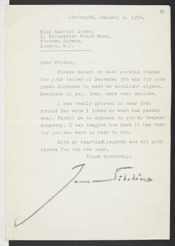 Jean Sibeliuksen ja Harriet Cohenin kirjeenvaihtoa